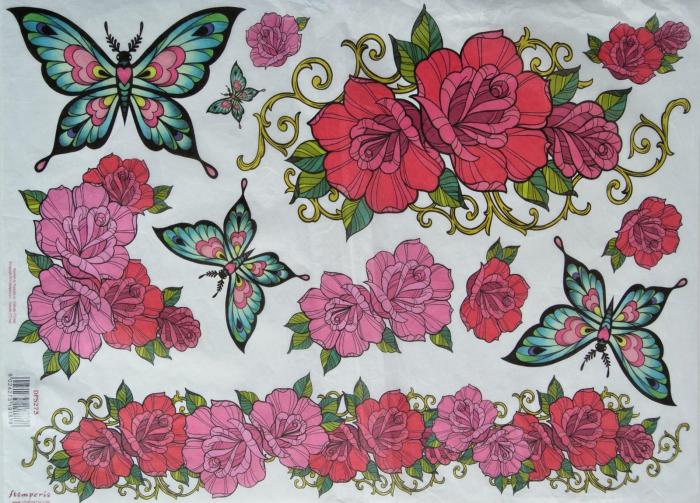 hartie-de-orez-stamperia-trandafiri-si-fluturi-dfs273 0