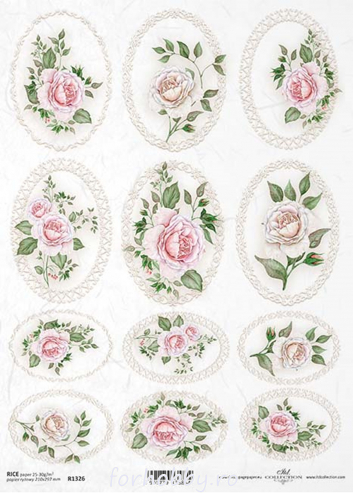 hartie-de-orez-medalioane-cu-trandafiri-itd-collection-r1326 0