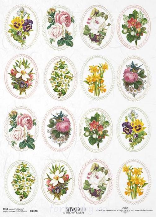 hartie-de-orez-medalioane-cu-flori-itd-collection-r1328 0