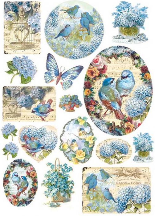 hartie-de-orez-pasare-albastre-si-hortensii-stamperia-dfsa4077 0