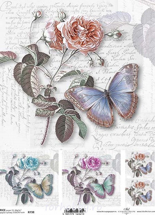 hartie-de-orez-trandafir-si-fluture-itd-collection-r0738 0
