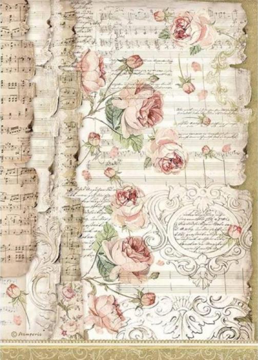 hartie-de-orez-a4-stamperia-trandafiri-si-partirura-dfsa4486 0
