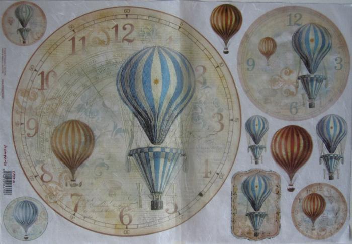 Hartie de orez 33x48 cm - Ceas cu baloane 0