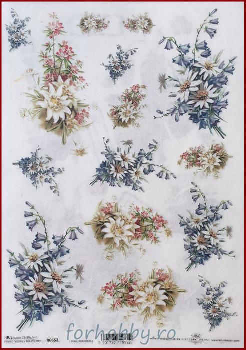 Hartie de orez - A4 - Floare de colt 0
