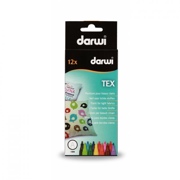 Marker pentru textile DARWI TEX - set 12 culori 0