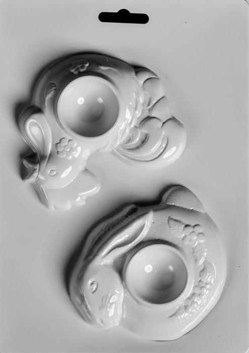 Matrita pentru turnat ipsos - Suport oua - Gaina si iepure 0