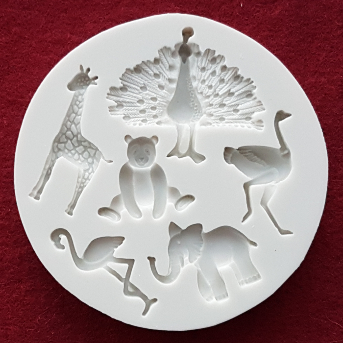 Mulaj din silicon Animale salbatice Flamingo Strut Panda Elefant Paun Girafa 0