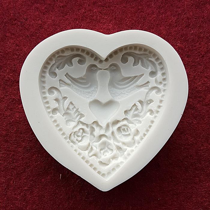 Mulaj din silicon Inima cu porumbei indragostiti 0