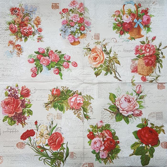 Servetel decorativ Maki - Trandafiri 0