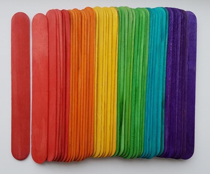 Set spatule lemn colorate 11.2 x 1 x 0.2 cm (48 buc/set) 0