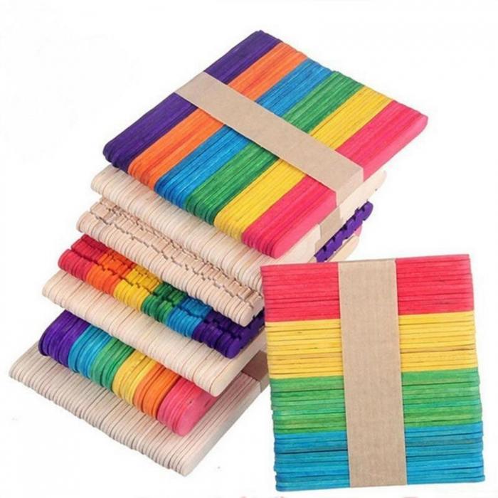 Set spatule lemn colorate 11.2 x 1 x 0.2 cm (48 buc/set) 2