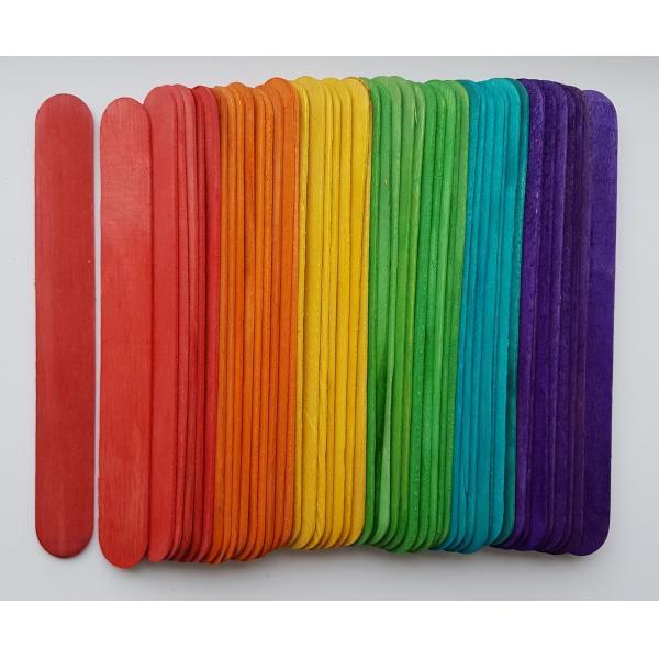 Set spatule lemn colorate 15 x 1.8 x 0.2 cm ( 48 bc/set ) 0