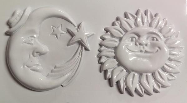 Forme pentru turnat ghips, ceara, beton, praf ceramica soare si luna