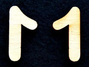 "Cifra din lemn ""1"" - 3.2 x 1.5 x 0.2 cm1"