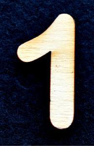 "Cifra din lemn ""1"" - 3.2 x 1.5 x 0.2 cm0"