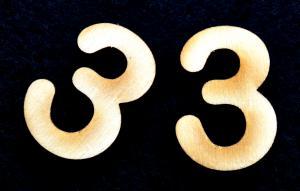 "Cifra din lemn ""3"" - 3.2 x 2.2 x 0.2 cm1"