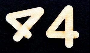 "Cifra din lemn ""4"" - 3.2 x 2.6 x 0.2 cm1"