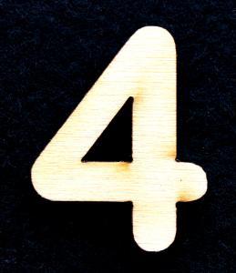 "Cifra din lemn ""4"" - 3.2 x 2.6 x 0.2 cm0"