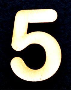 "Cifra din lemn ""5"" - 3.2 x 2.2 x 0.2 cm0"