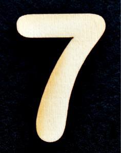 "Cifra din lemn ""7"" - 3.2 x 2.2 x 0.2 cm"