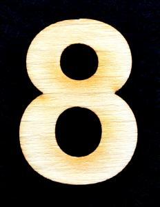 "Cifra din lemn ""8"" - 3.2 x 2.2 x 0.2 cm0"