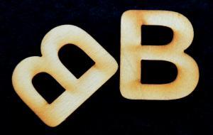 "Litera din lemn ""B"" - 3.2 x 2.8 x 0.2 cm1"