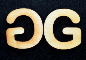 "Litera din lemn ""G"" - 3.2 x 3 x 0.2 cm"