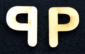 "Litera din lemn ""P"" - 3.2 x 2.5 x 0.2 cm1"
