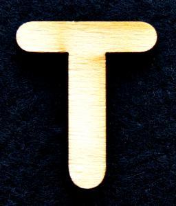 """Litera din lemn """"T"""" - 3.2 x 2.7 x 0.2 cm0"""