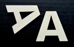 "Litera din lemn ""A"" - 4.5 x 4.6 x 0.4 cm"