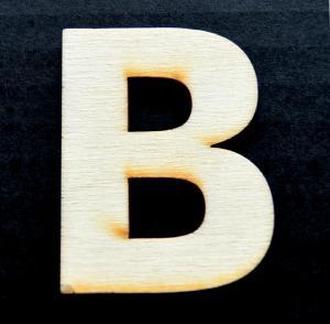 "Litera din lemn ""B"" - 4.5 x 3.5 x 0.4 cm0"