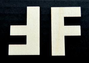 """Litera din lemn """"F"""" - 4.5 x 2.7 x 0.4 cm1"""
