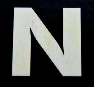 "Litera din lemn ""N"" - 4.5 x 4.4 x 0.4 cm"