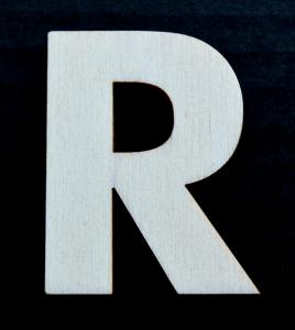 "Litera din lemn ""R"" - 4.5 x 3.5 x 0.4 cm0"