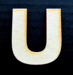 """Litera din lemn """"U"""" - 4.5 x 4 x 0.4 cm0"""