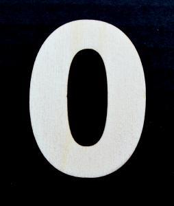 "Cifra din lemn ""0"" - 4.5 x 3.4 x 0.4 cm"