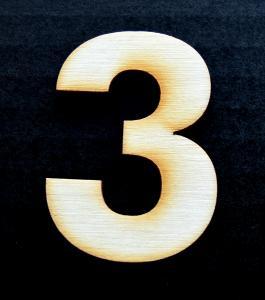"Cifra din lemn ""3"" - 4.5 x 3.4 x 0.4 cm0"