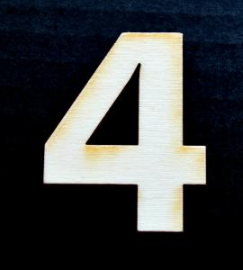 "Cifra din lemn ""4"" - 4.5 x 3.5 x 0.4 cm0"