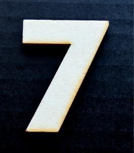 "Cifra din lemn ""7"" - 4.5 x 3.4 x 0.4 cm1"