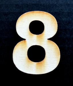 "Cifra din lemn ""8"" - 4.5 x 3.4 x 0.4 cm0"