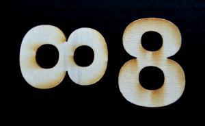 "Cifra din lemn ""8"" - 4.5 x 3.4 x 0.4 cm1"