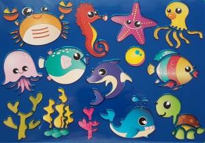 Sablon plastic pentru desen- Vietati marine0