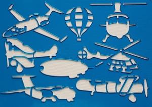 Sablon plastic pentru desen - mijloace de transport aeriene1