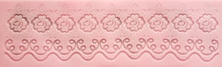 Mulaj din silicon - Bordura dantela - Trandafiri0