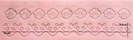 Mulaj din silicon - Bordura dantela - Trandafiri1