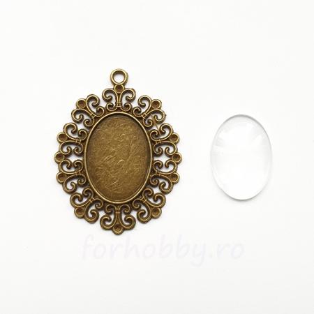 Bază medalion și cabochon sticlă 25 x 16 mm1