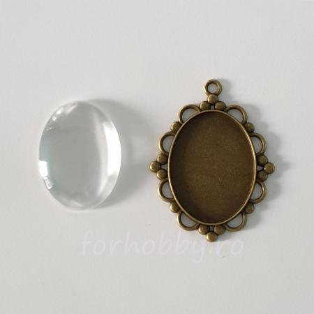 Bază medalion și cabochon sticlă 30 x 40 mm1