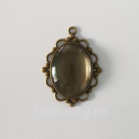 Bază medalion și cabochon sticlă 30 x 40 mm0