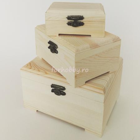 Cutii lemn dreptunghiulare cu capac - Diverse mărimi0