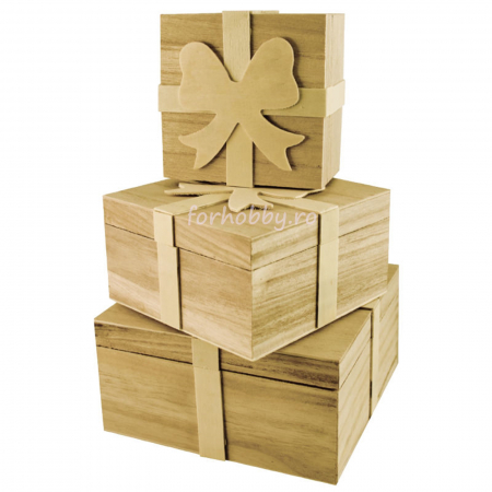 Cutii lemn tip cadou cu fundiță - Diverse mărimi0